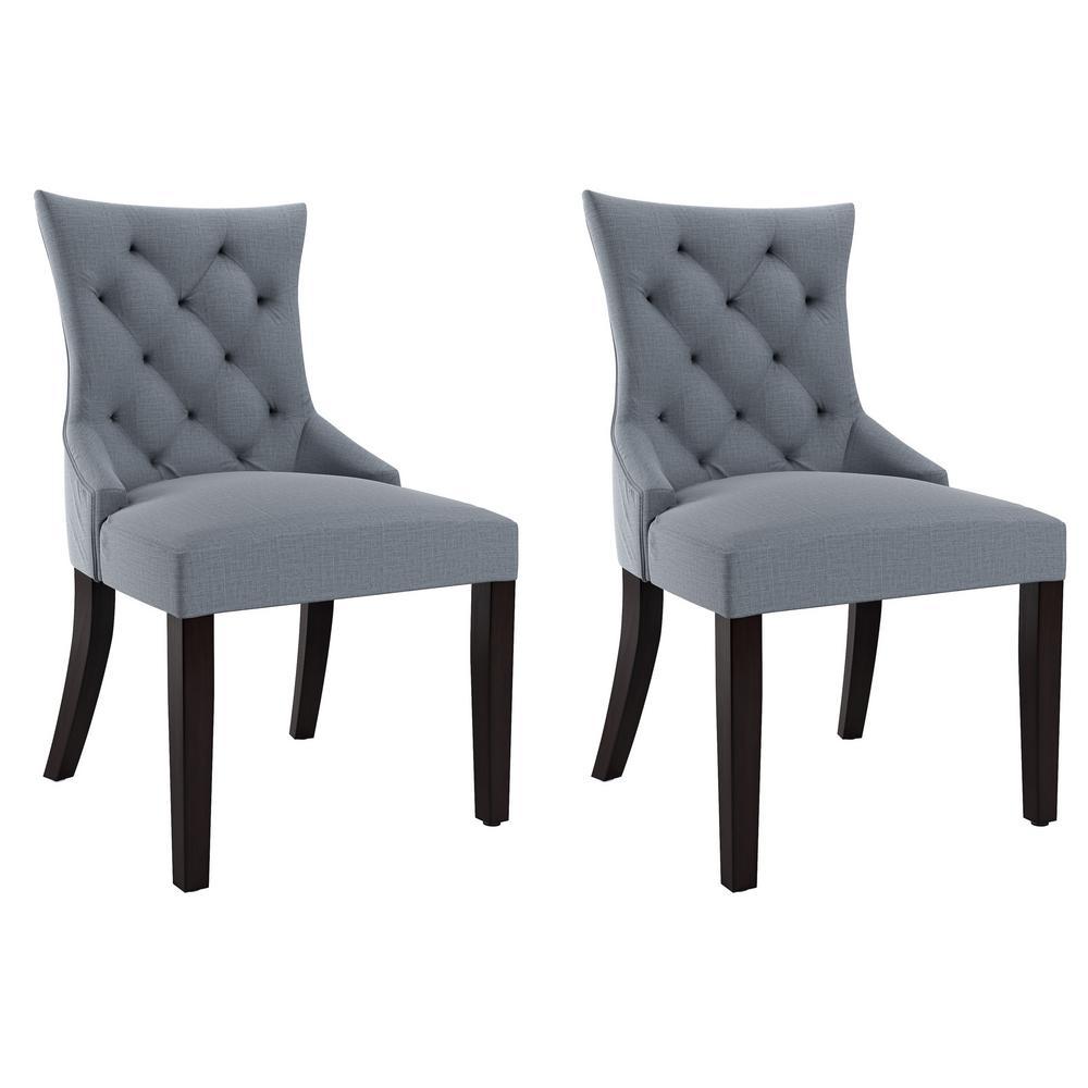 Antonio Blue Grey Fabric Accent Chair (Set of 2)
