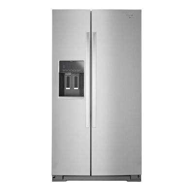 36 in. W 25.6 cu. ft. Side by Side Refrigerator in Monochromatic Stainless Steel