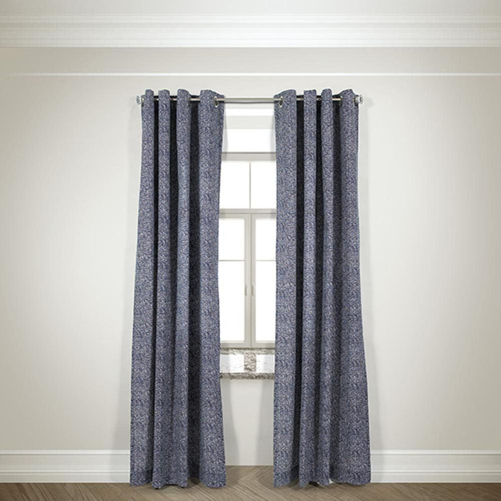 Semi-Opaque Mason Navy Cotton and Polyester Half Panama Curtain - 50