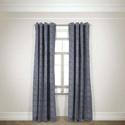 Semi-Opaque Mason Navy Cotton and Polyester Half Panama Curtain - 50 in. W x 84 in. L