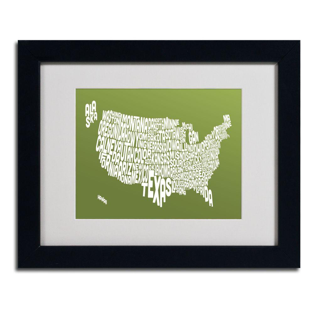 Trademark Fine Art 11 in. x 14 in. USA States Text Map - Olive Matted Framed Art