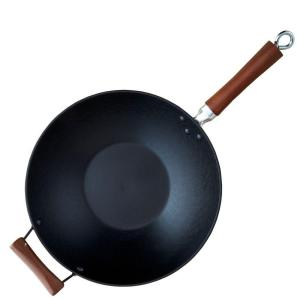 Click here to buy IMUSA Light Cast Iron Pre-Seasoned 14 inch Wok with Wood Handle by IMUSA.