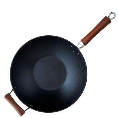 Light Cast Iron Pre-Seasoned 14 in. Wok with Wood Handle