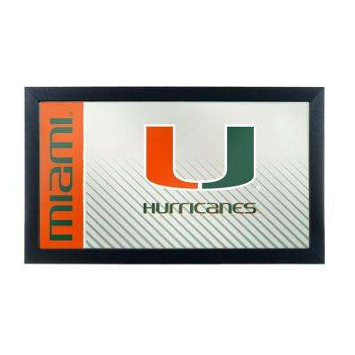University of Miami Text 15 in. x 26 in. Black Wood Framed Mirror