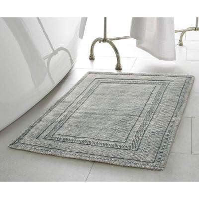 Cotton Stonewash Racetrack 17 in. x 24 in./20 in. x 32 in. 2-Piece Bath Rug Set in Grey Blue