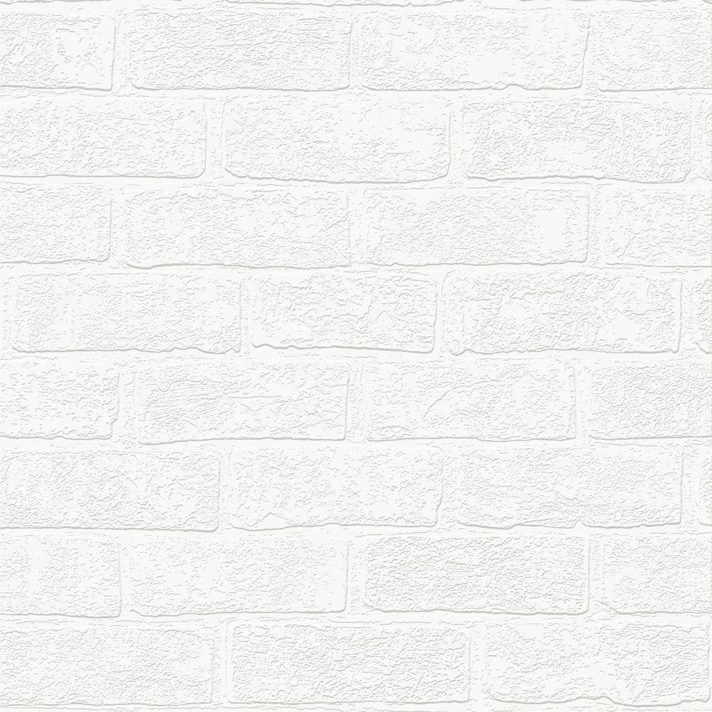 Brick Paintable White Wallpaper 93744 The Home Depot