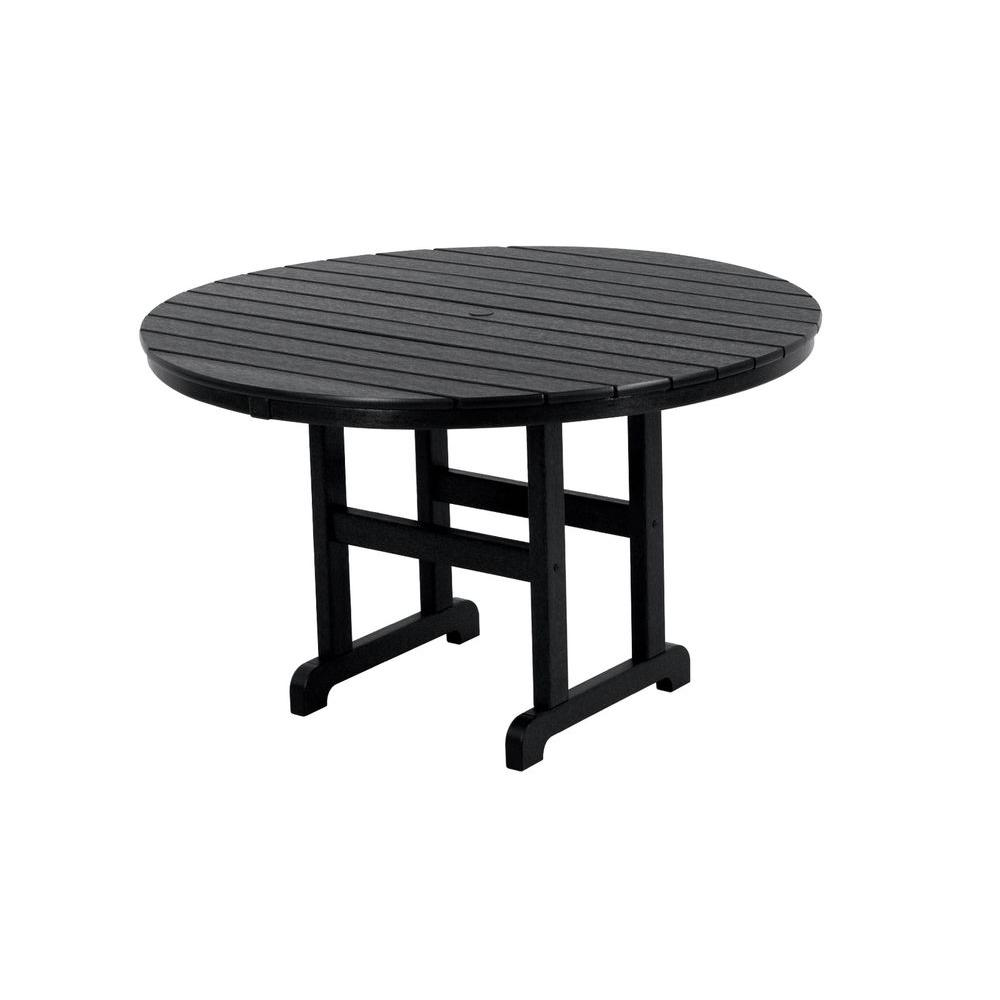 La Casa Cafe 48 in. Black Round Patio Dining Table