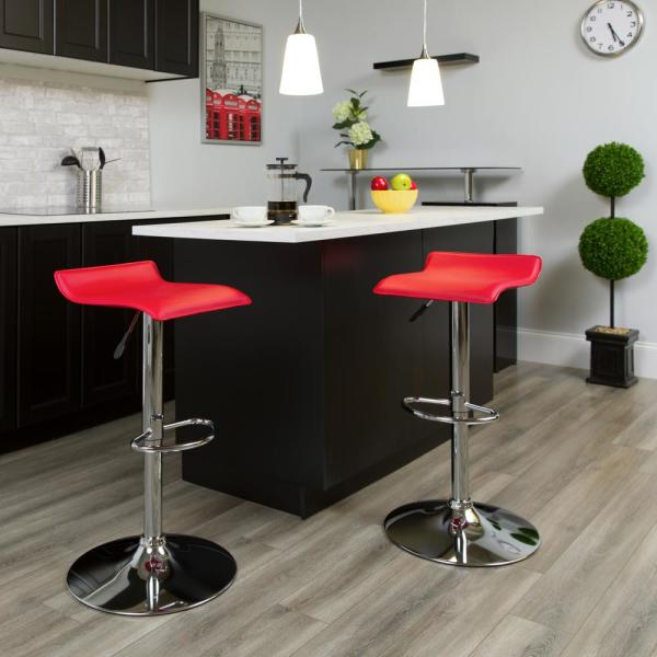 Flash Furniture 31.25 in. Adjustable Height Red Cushioned Bar Stool