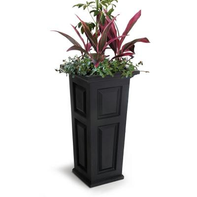 Self-Watering Nantucket 15-1/2 in. Square Black Plastic Column Planter