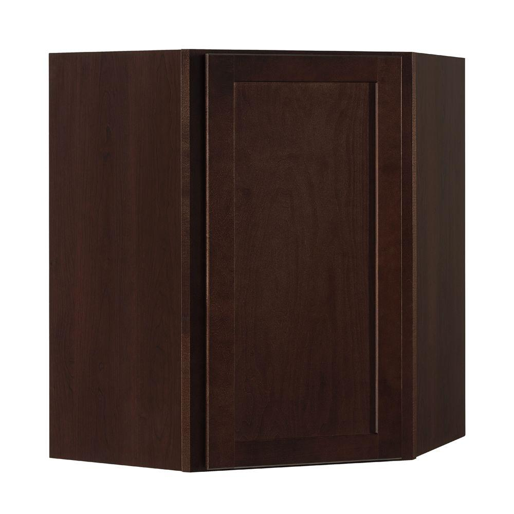 Shaker Assembled 24x30x12 in. Diagonal Corner Wall Kitchen Cabinet in Java