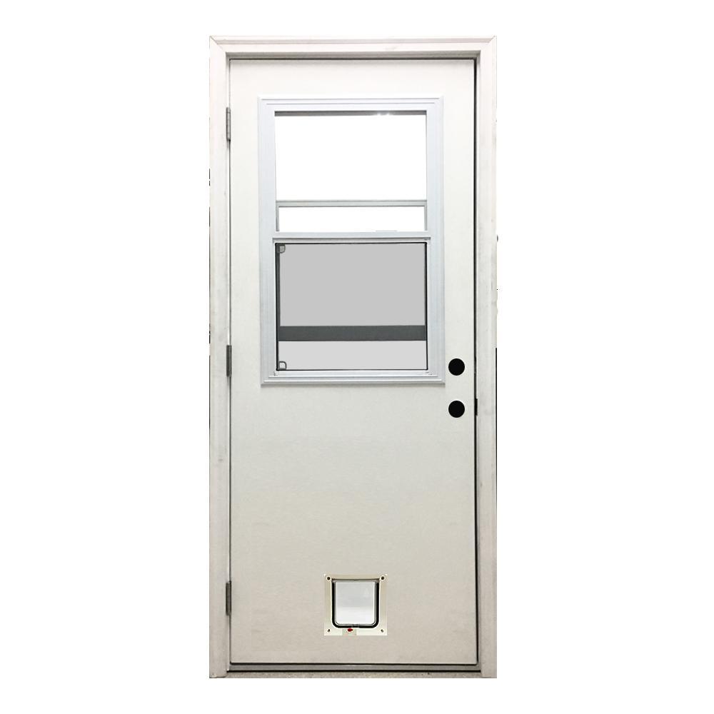 36 in. x 80 in. Classic Vented Half Lite RHOS White Primed Textured Fiberglass Prehung Front Door with Small Cat Door