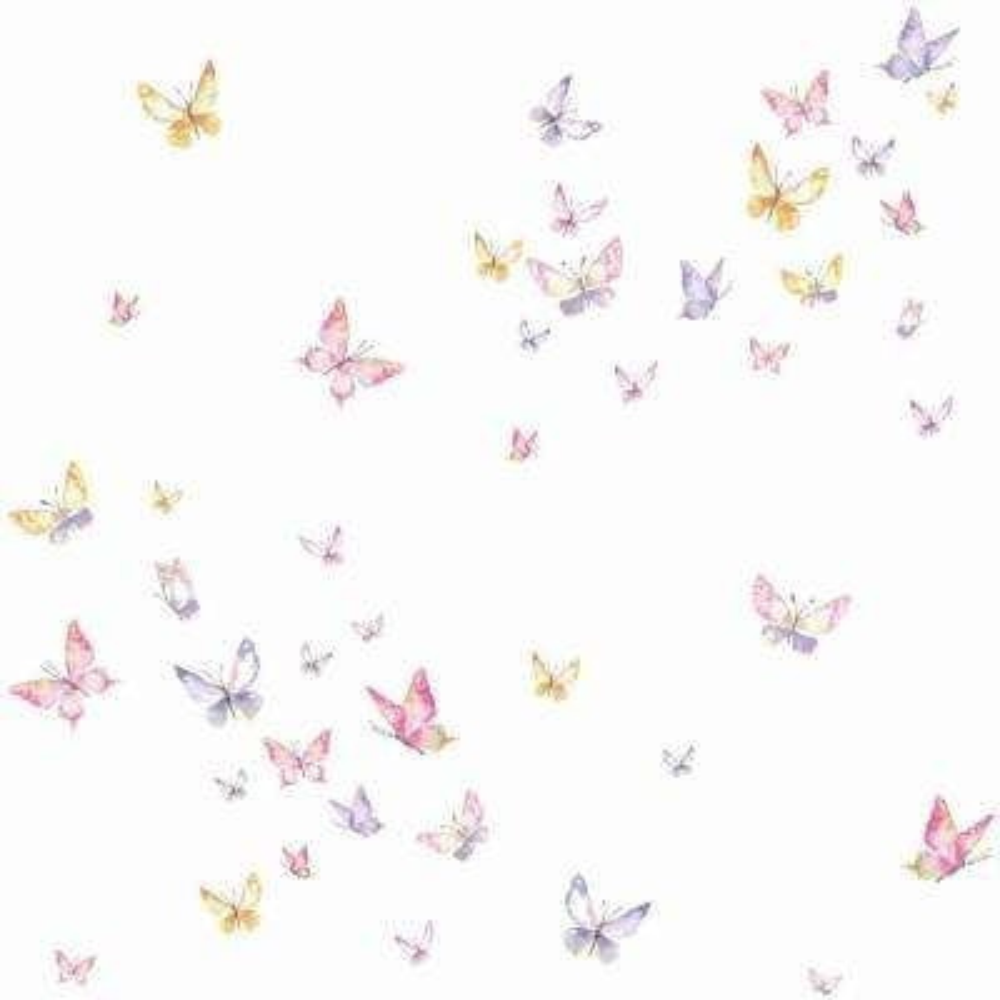 56 sq. ft. Watercolor Butterflies Wallpaper