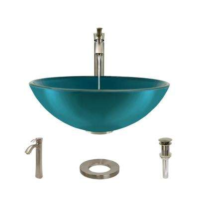 Glass Vessel Sink in Cerulean with R9-7006 Faucet and Pop-Up Drain in Brushed Nickel