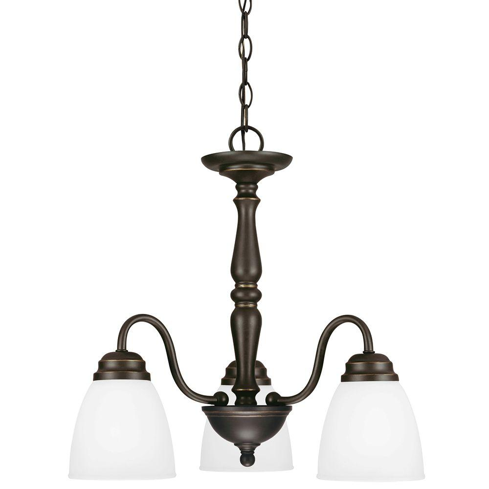 Sea Gull Lighting Northbrook 3-Light Roman Bronze Fluorescent Chandelier with Satin Etched Glass