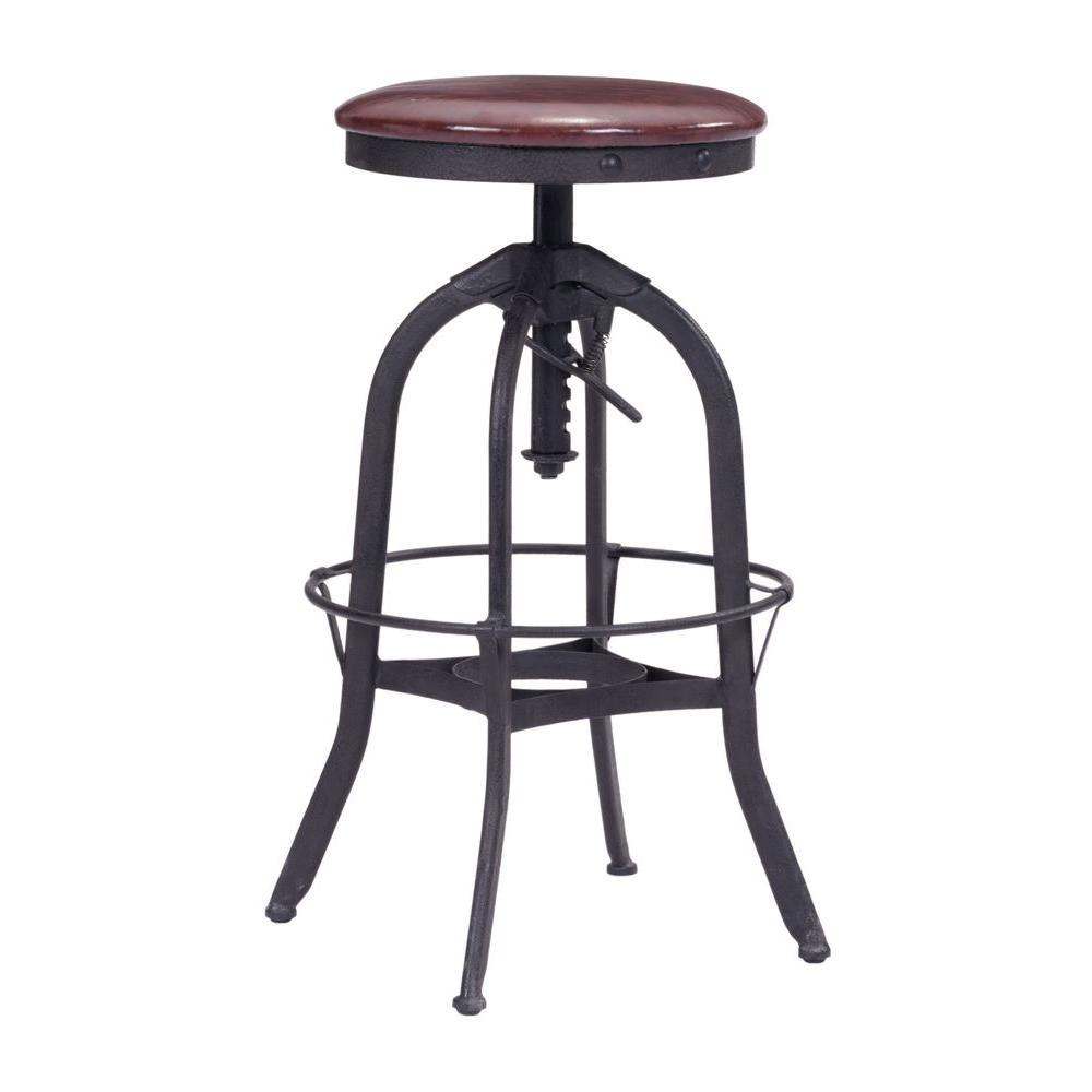 Exceptionnel ZUO Crete Adjustable Height Antique Black And Burgundy Bar Stool