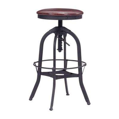 Crete Adjustable Height Antique Black and Burgundy Bar Stool