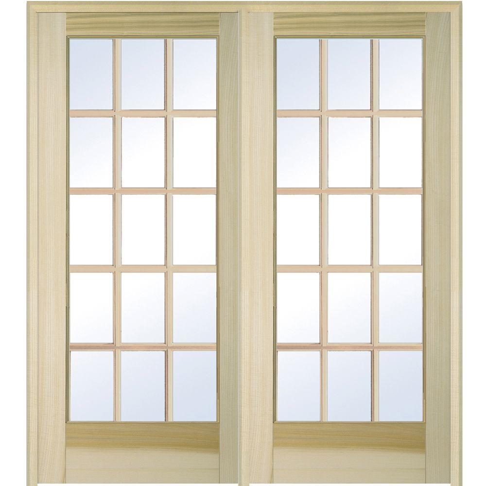 Left Hand Active Unfinished Poplar Glass 15 Lite Clear True Divided Prehung Interior  French Door Z009504L   The Home Depot