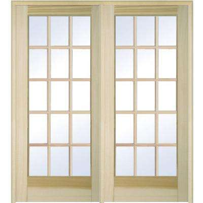 72 in. x 80 in. Left Hand Active Unfinished Poplar Glass 15-Lite Clear True Divided Prehung Interior French Door