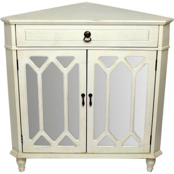 HomeRoots Shelly Assembled Antique White Glass Corner ...