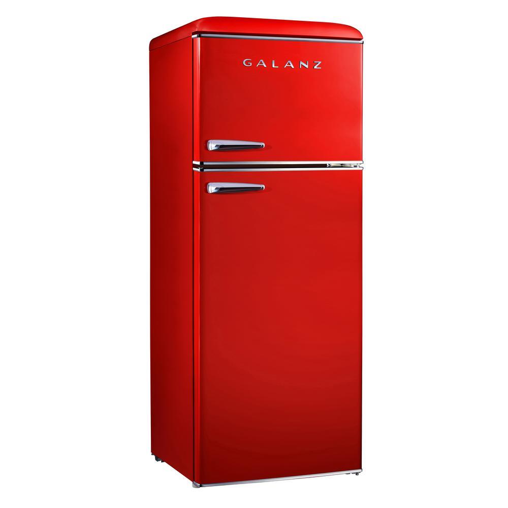7.6 cu.ft. Retro Mini Refrigerator with Dual Door and True Freezer in Red