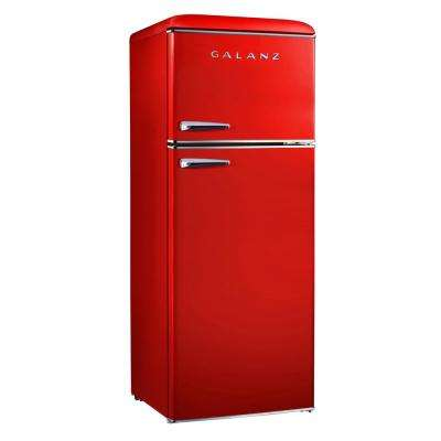 7.6 cu.ft. Retro Mini Refrigerator with Dual Door and True Freezer in Red