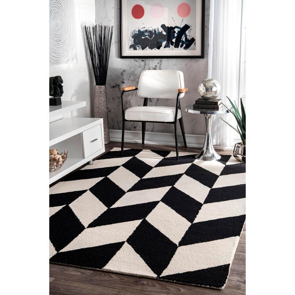 Nuloom Katte Geometric Black White 4 Ft X 6 Ft Area Rug Mthm03a 406 The Home Depot