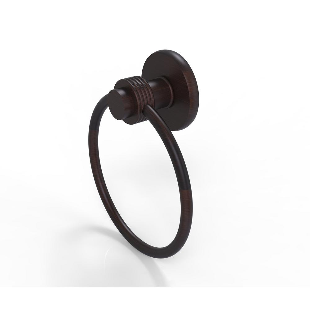 Allied Brass Mercury Collection Towel Ring with Groovy Accent in Venetian Bronze
