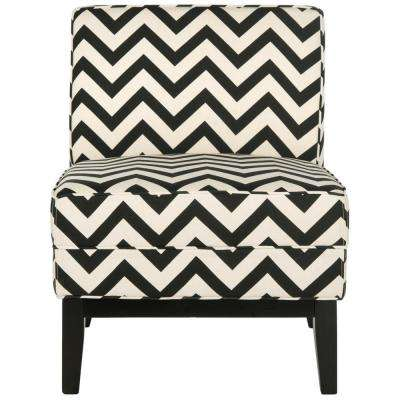 Armand Black and White Zig Zag Linen/Cotton Accent Chair