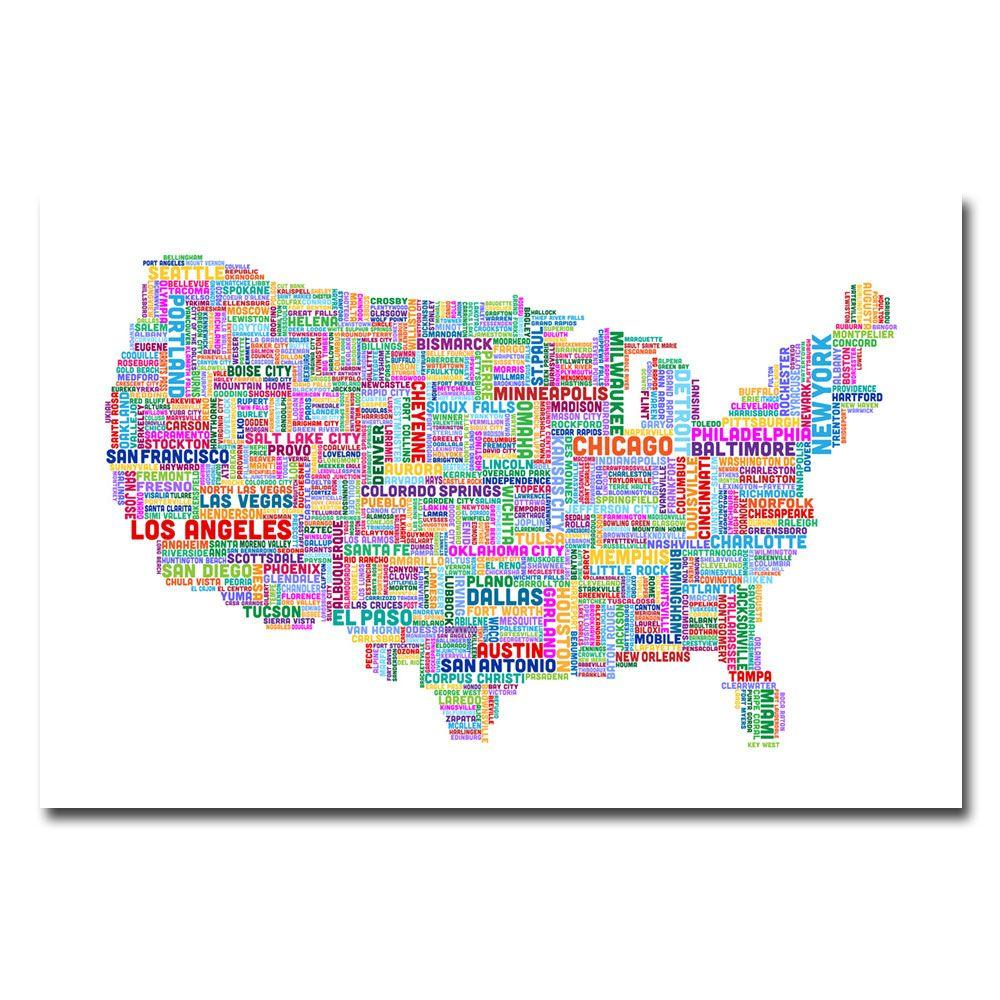 Trademark Fine Art 30 in. x 47 in. US Cities Text Map IV Canvas Art