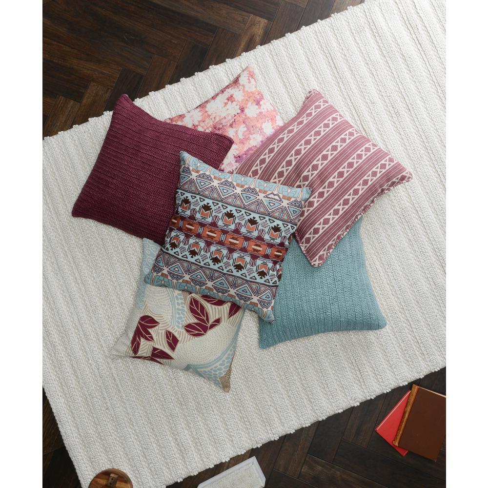 Tessa Berry / Orange 18 in. x 18 in. Square Printed Chenille Decorative Pillow