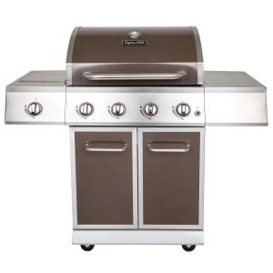 Click here to buy Dyna-Glo 4-Burner Propane Gas Grill in Bronze with Stainless Steel Control Panel and Side Burner by Dyna-Glo.