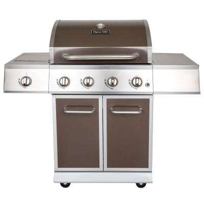 4-Burner Propane Gas Grill in Bronze with Stainless Steel Control Panel and Side Burner