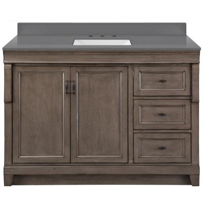 Naples 49 in x 22 in D Vanity in Distressed Grey with Engineered Stone Vanity Top in Slate Grey with Trough White Basin