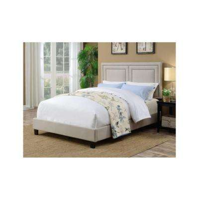 All-in-One Nail Head Trim Framed Upholstered Light Beige Queen Bed
