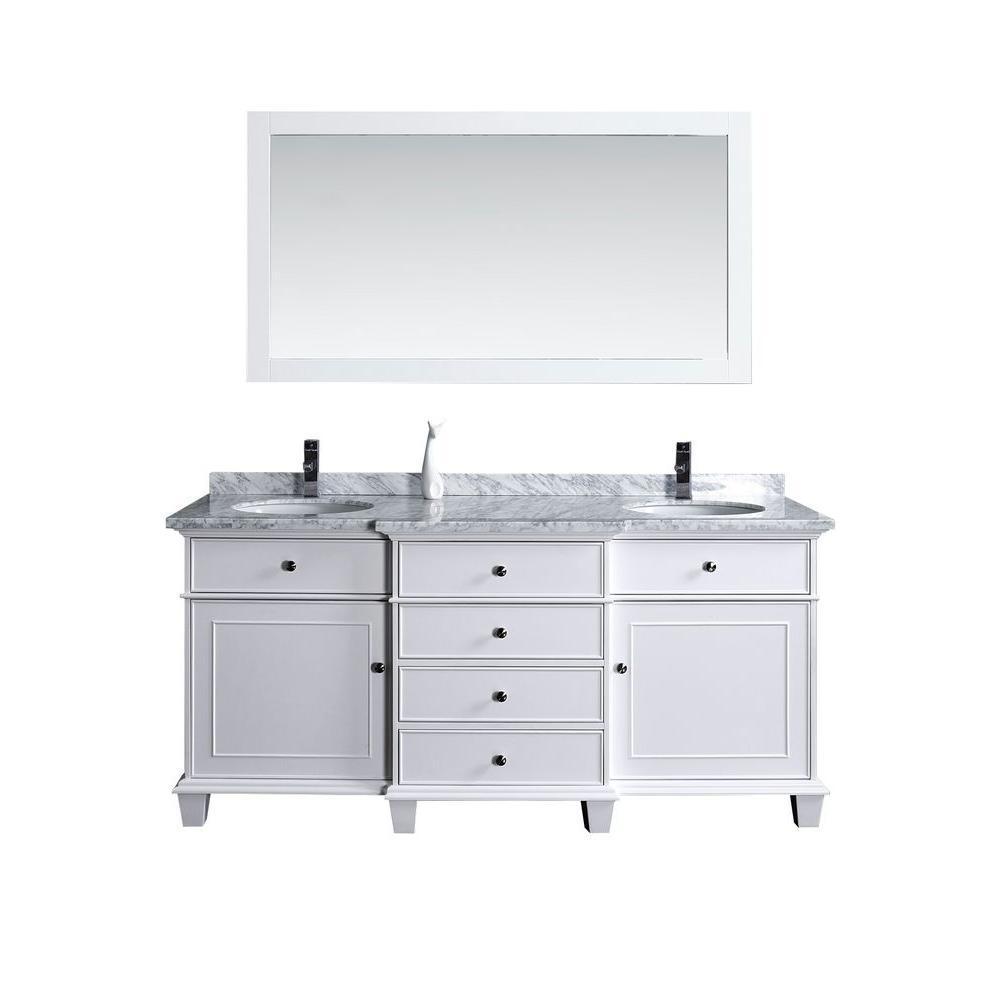 Stufurhome cadence 60 in w x 22 in d vanity in white with marble vanity top in carrara white for Home depot 60 inch bathroom vanity