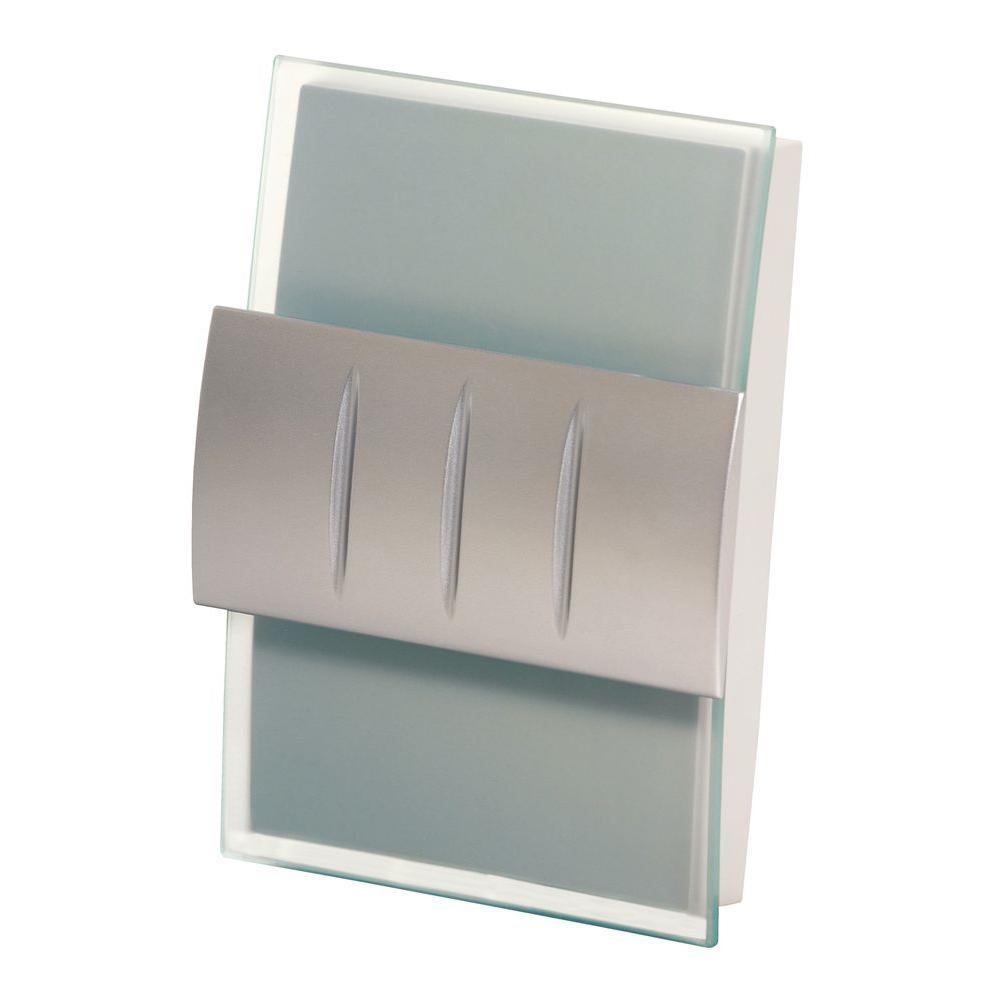 Decor Series Wireless Door Chime w/Push Button, Satin Nickel Accent, Vertical/Horizontal Mount