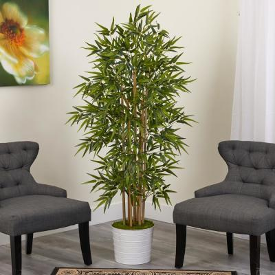 64 in. Bamboo Artificial Tree in White Tin Planter