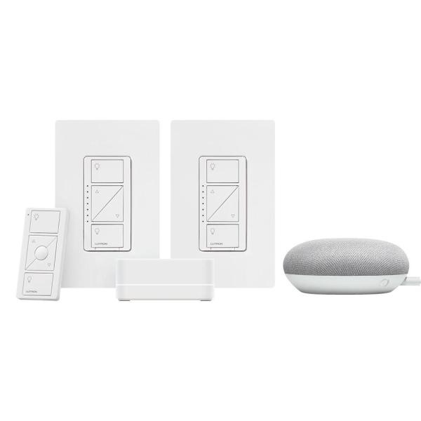 Caseta Wireless Smart Lighting Start Kit with Pico Remote and 2-Dimmer Switches and Google Home Mini, Chalk