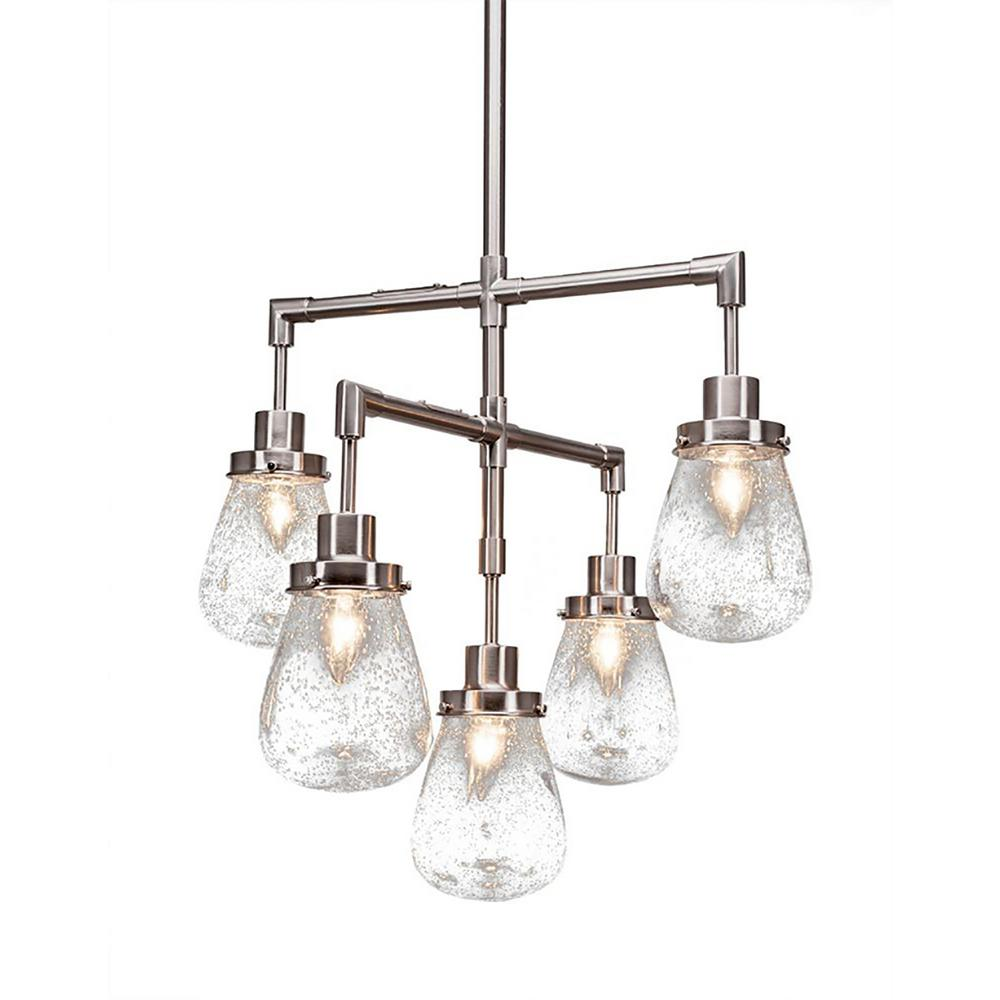 Filament design 5 light chrome chandelier with clear bubble glass shade