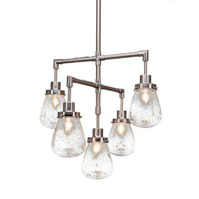5-Light Chrome Chandelier with Clear Bubble Glass Shade