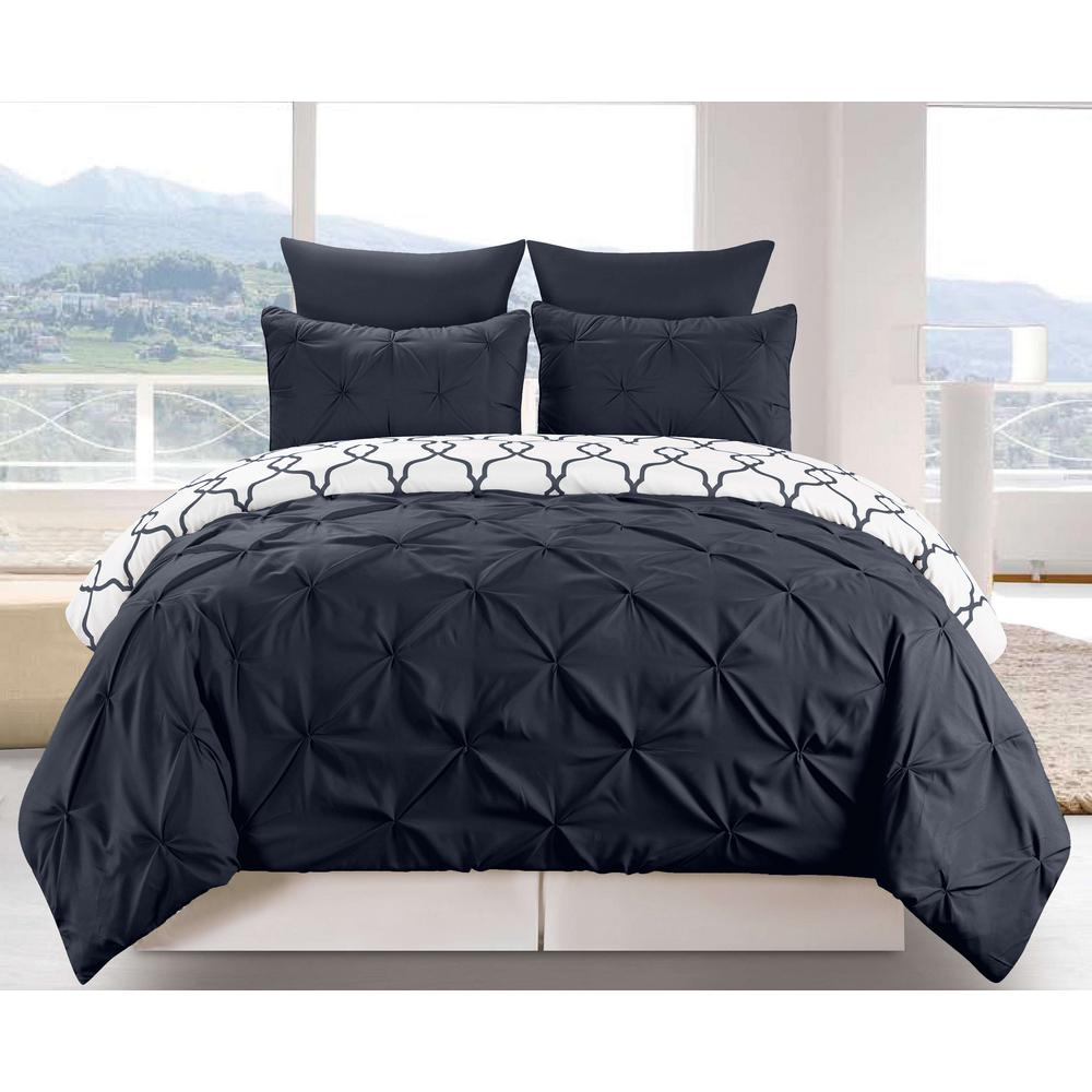 Esy Reversible 3-Piece Duvet King Set in Navy