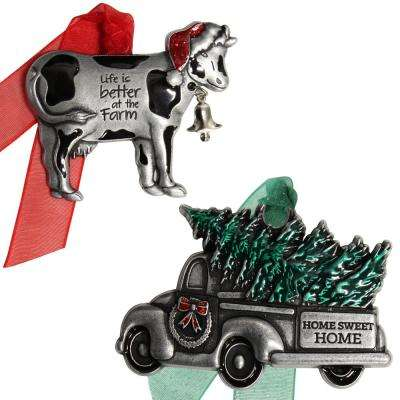 Christmas Cow and Truck Country Ornament Set