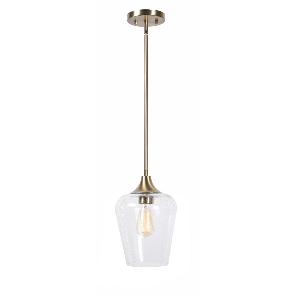 Home Decorators Collection 1-Light Antique Brass Seeded Glass Pendant