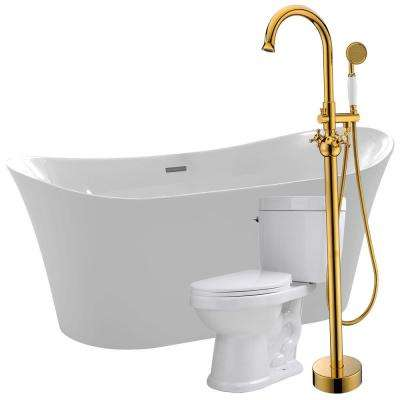 Eft 67 in. Acrylic Flatbottom Non-Whirlpool Bathtub with Bridal Faucet and Talos 1.6 GPF Toilet