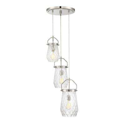 3-Light Polished Nickel Chandelier with Clear Cut