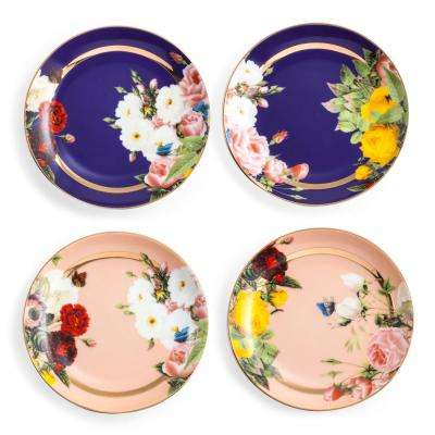 Seven Sisters Floral Gold Appetizer Plates (Set of 4)