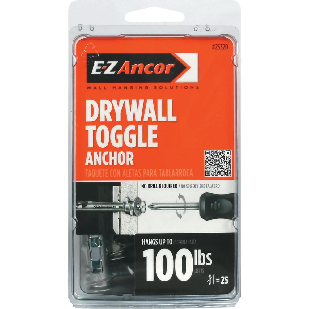 E-Z Ancor Toggle-Lock 100 Pan-Head Self-Drilling Heavy Duty Drywall Anchors with Screws (25-Pack)