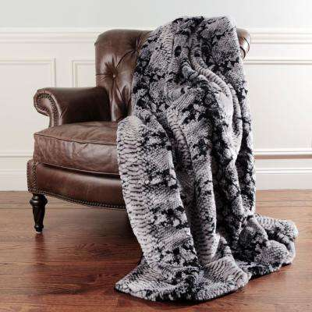 Snakeskin Faux Fur 60 in. L Grey Throw