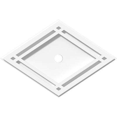 14 in. W x 9-3/8 in. H x 1 in. ID x 1 in. P Diamond Architectural Grade PVC Contemporary Ceiling Medallion
