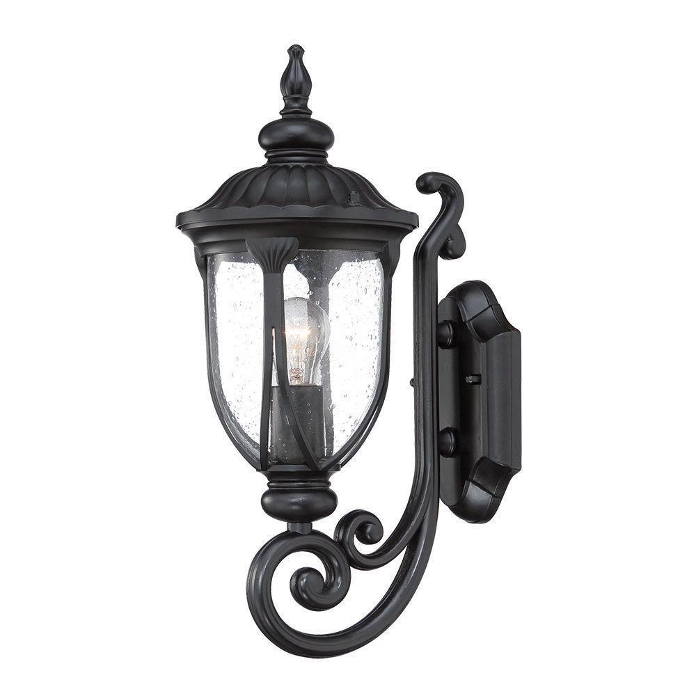 Laurens Collection 1-Light Matte Black Outdoor Wall-Mount Light Fixture